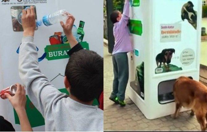 Máquina recicladora que alimenta a animales callejeros
