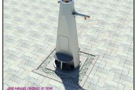 Fuente bebedero ornamental con acceso para minusválidos